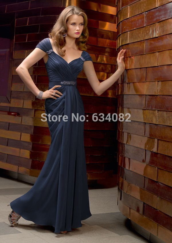 Free Shipping Elegant Dark Blue Chiffon Long Cap-sleeve Sheath Dress Formal Party Prom Gown Mother Of The Bride Dresses 2015 New