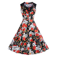 Summer Cotton Dress Women Skull Wave Point Print Slim Vintage Dress Casual Sleeveless Elegant Midi Party Dresses Vestidos Robe
