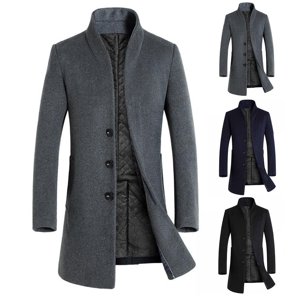 Men's Wool Coat Winter Long Sections Fashion Thick Woolen Coats Men Stand Collar Casual  Overcoat Parka