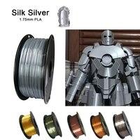 Filamento per stampante 3D PLA 1.75mm seta argento oro 250g/500g/1KG sensazione metallica lucida materiale di stampa 3D filamento lucido setoso