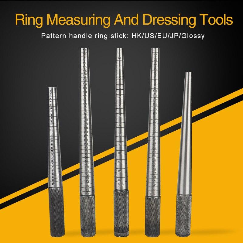Stainless Steel Marked Ring Sizer Stretcher Mandrel Sticks Bar Wooden Handle