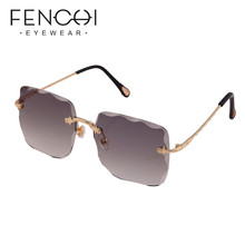 Pink Wave Oversized Polarized Sunglasses Women Luxury Brand Designer Gradient Metal Frame Sun glasses Female Zonnebril Dames