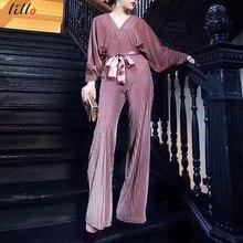 Deep v-neck bow tie jumpsuit 2019 autumn new jumpsuit fashion solid color one-piece long-sleeved jumpsuit elegant temperament