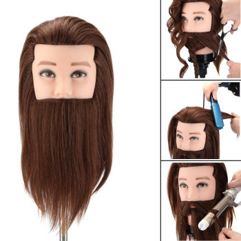 14Male 100% real human hair mannequin practice training head with beard barber hairdressing manikin doll head for beauty school 14 90% male real hair mannequin practice training head with beard barber hairdressing manikin doll head for beauty school
