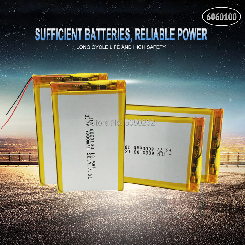 4pc <font><b>5000mAh</b></font> <font><b>3.7V</b></font> 6060100 Polymer Lithium <font><b>LiPo</b></font> Rechargeable <font><b>Battery</b></font> For GPS PSP DVD PAD Tachograph power bank Speaker image
