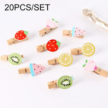 20pcs/set children wooden fruit clip for DIY Photo Album toys colorful Girls fruit DIY Jewelry Accessories Home wood clip(China)