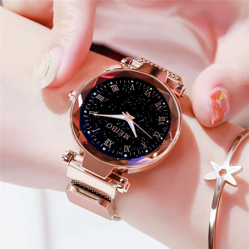 Watch Women Watches Quartz Rose Gold Ladies Night Light Magnet Star Sky Watch Ladies Clock Relogio Feminino Free Shipping77