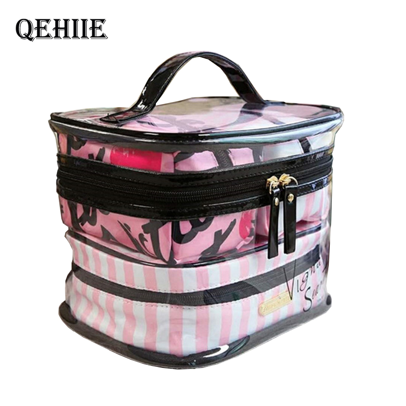 Organizer Toiletry-Bag Makeup-Bags Transparent Travel Beauty Clear 4pcs PVC Pink Women