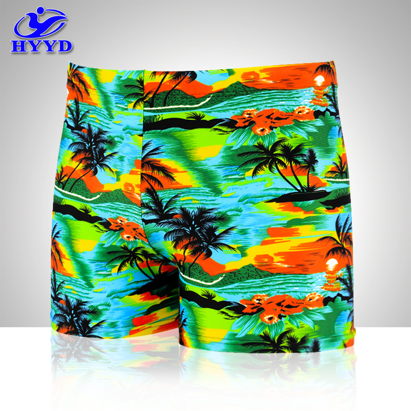 Sea Edge Beaches Up To New Style Palm Printed Swimming Trunks Plus-sized Men Leveling Feet Swimming Trunks