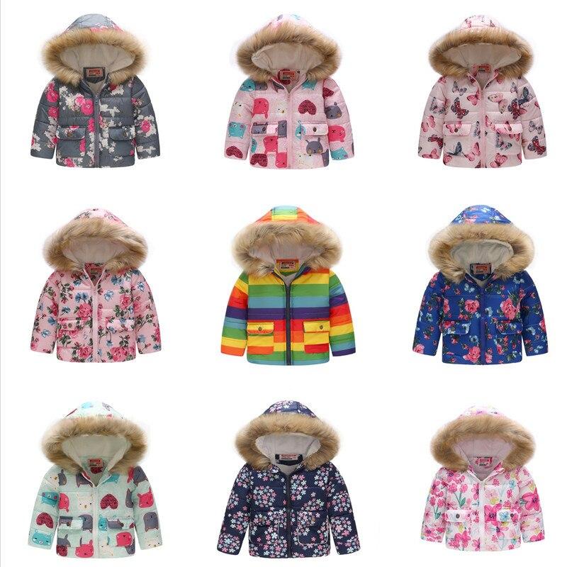 Winter Kids Jacket With Fur Hooded Dinosaur Printed Rainbow Children Snow Jacket Boy Windbreaker Outerwear Girls Parkas Coats