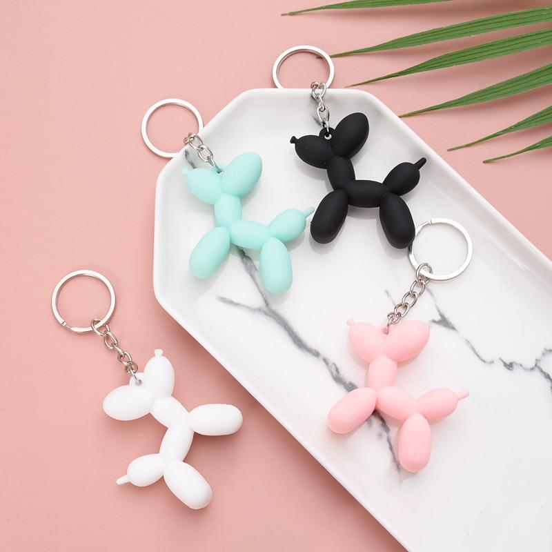 5 Colors Balloon Dog Soft Rubber PVC Three-Dimensional Keychain Exquisite Gift DIY Pendant Car Interior Cartoon Key Ring Key Cha