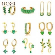 Roxi cores verdes multi-estilo zircão cristais brincos para mulheres verão prata 925 jóias brincos huggie 2021 na moda ins