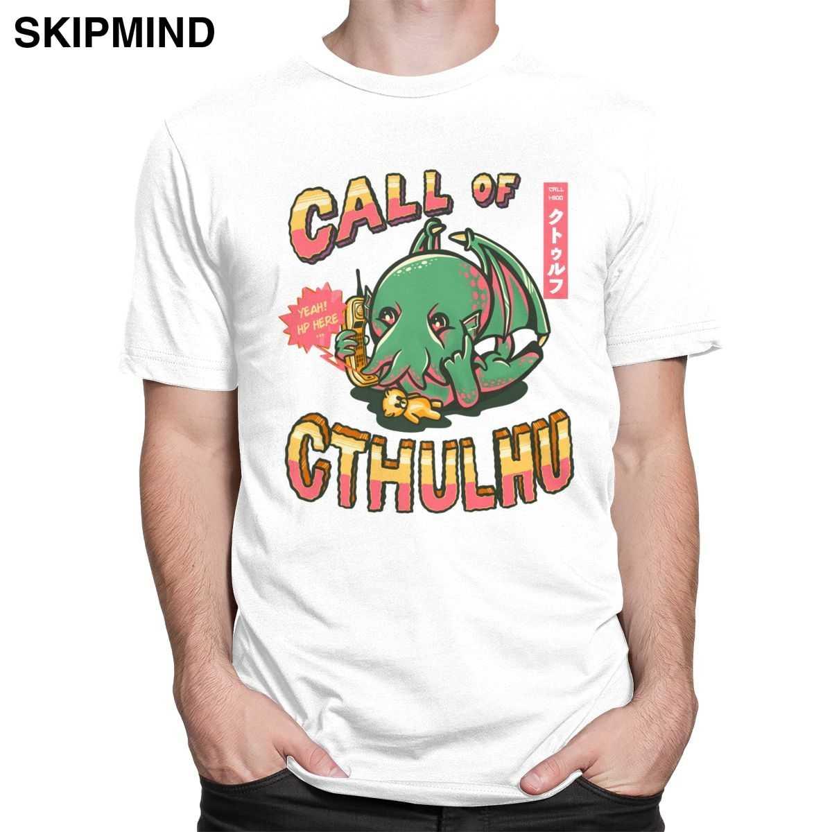 Lucu Call Of Cthulhu T Shirt Pria Kaos Oblong Lengan Pendek Lovecraft Grafis Tshirt Katun Murni Gurita Tee Tops Kasual Pakaian