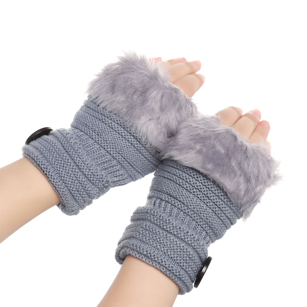 New Winter Gloves Women Faux Rabbit Fur Knitted Gloves Thick Warm Fingerless Gloves Knitting Mittens Elastic Soft Arm Warmers