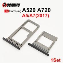 Aocarmo SIM Card Tray For Samsung Galaxy A520 A720 A5 A7 2017 Single Dual SIM Card Reader Sim Tray Holder SD Slot