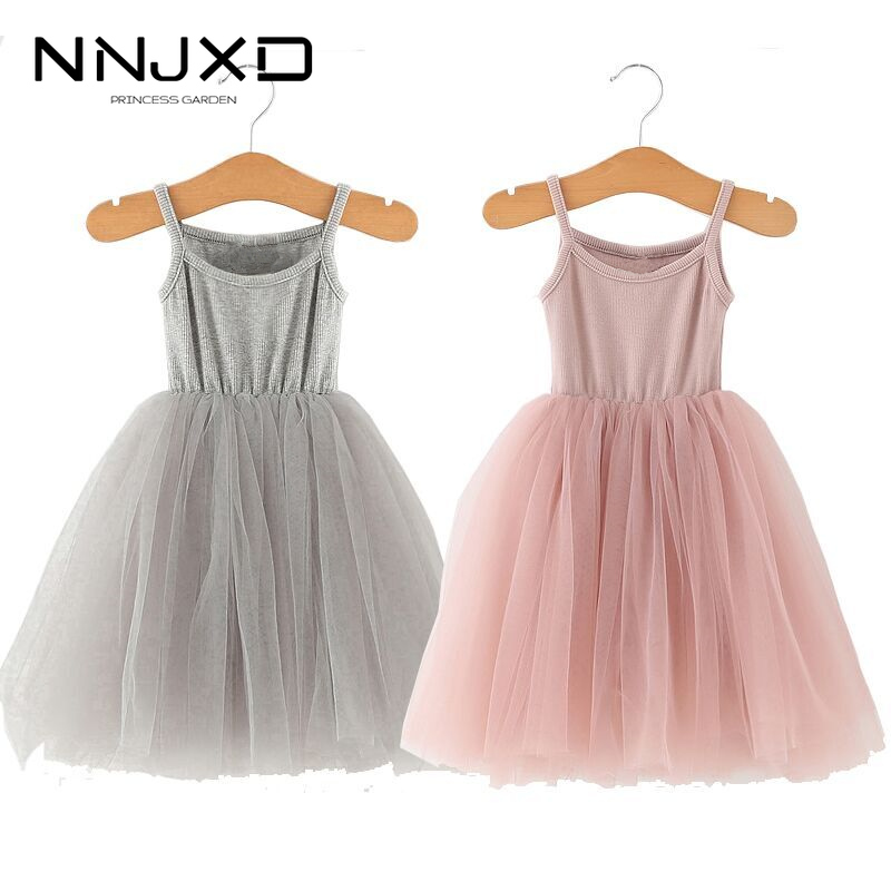 2020 Summer Girl Dresses Party And Wedding Princess Dress Kids Baby Girls Sling Clothes Cotton Vest Dress 3-8 Year Birthday Gift