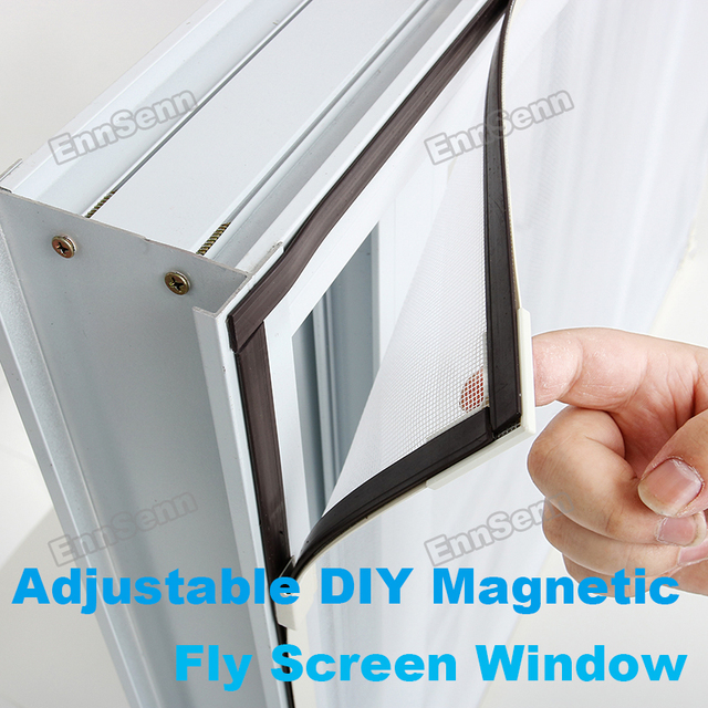 Adjustable DIY Magnetic Window Screen windows for Motorhomes Removable Washable Invisible Fly Mosquito Screen Net Mesh Customize