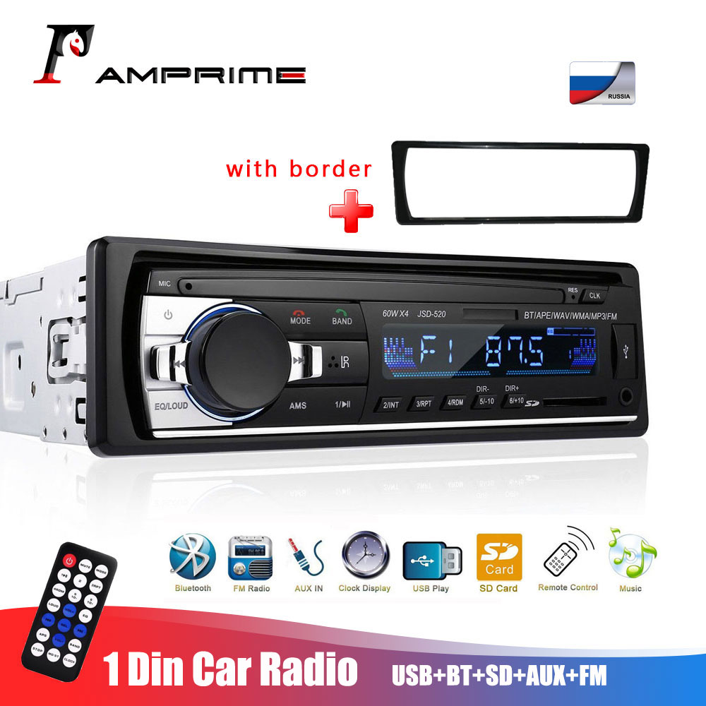 AMPrime 1 Din Car Radio Stereo Car Autoradio Bluetooth Car Audio Remote Control Charger phone USB/SD 1din Audio MP3 Player Radio image
