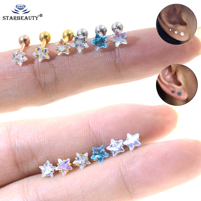2Pcs 3-5mm 18G Star Tragus Helix Studs Piercing Body Jewelry Stianless Steel Earring Prong set Zircon Ear Cartilage Piercing