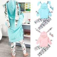 цена на Baby Boy Girl Infant Clothes Autumn Winter Hooded Tops+Pants 3PCS Set Outfits US