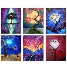 5D DIY Diamond Embroidery Lover Tree Painting Cross Stitch Fantasy Landscape Moon Rhinestone Decor Gift