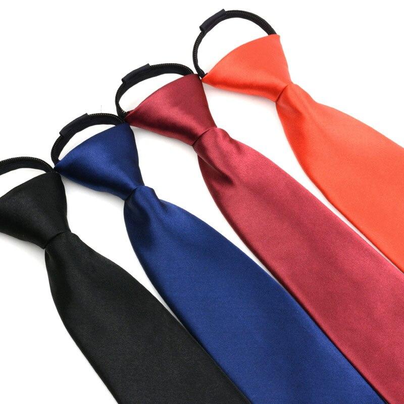 Lazy Pre-tied Neck Tie Men Skinny Zipper Ties Solid Color Slim Narrow Bridegroom Party Dress Necktie Daily Accessories