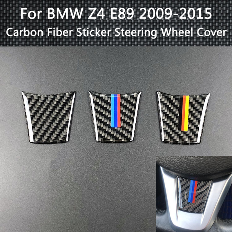 3 Styling Car Accessories Interior Carbon Fiber Sticker Steering Wheel Cover 3D Emblem Car Stickers For BMW Z4 E89 2009-2015
