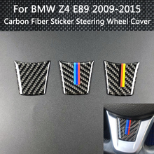 3 Styling Car Accessories Interior Carbon Fiber Sticker Steering Wheel Cover 3D Emblem Car Stickers For BMW Z4 E89 2009-2015 цены