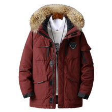 Large size loose coat Men Winter Jacket Men Hooded Duck Down Jacket Male Windproof Parka Thick Warm Overcoat coats 5858 cheap JUNGLE ZONE Thick (Winter) JUNGLE ZONE 5858 REGULAR Casual Single Breasted Full Solid Denim Hat Detachable Zippers Pockets