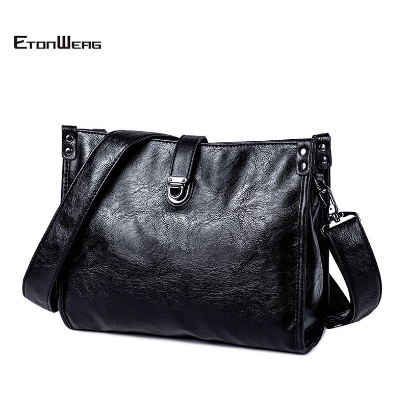 Business Office Men Briefcase Solid Black PU Leather Messenger Bags Fashion Buckle Shoulder Bag Casual Zipper File Bag Male 2019