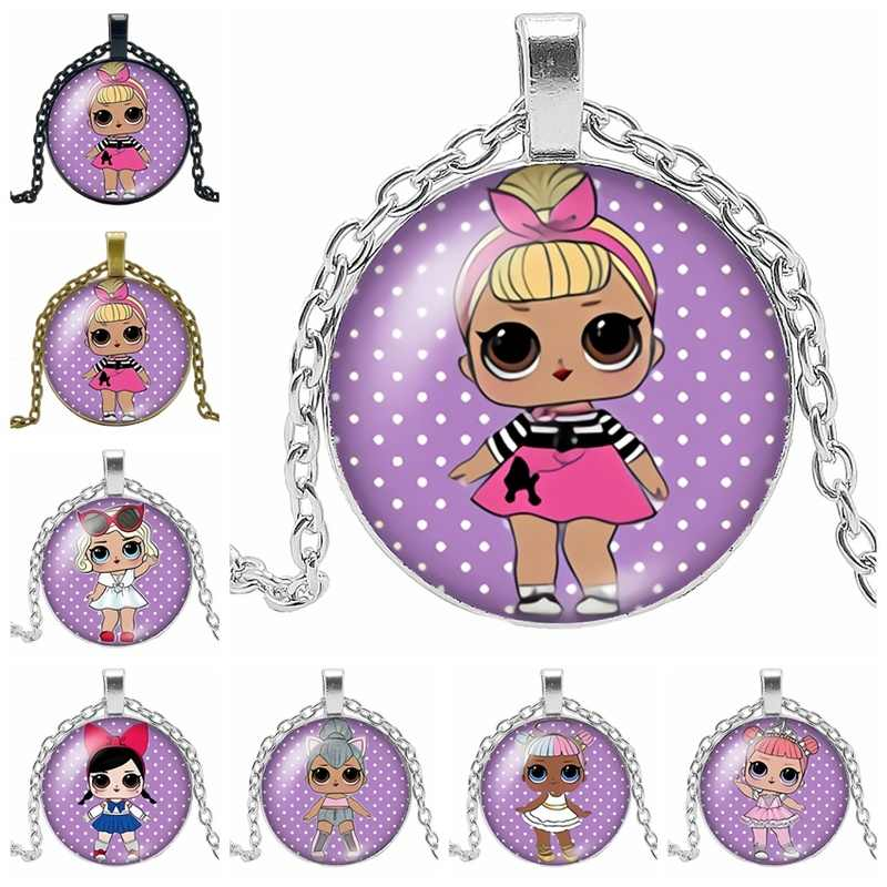 2019 New Hot Cute Fashion Girl Classic Action Figure Glass Necklace, Give My Favorite Girl Gift Necklace Jewelry