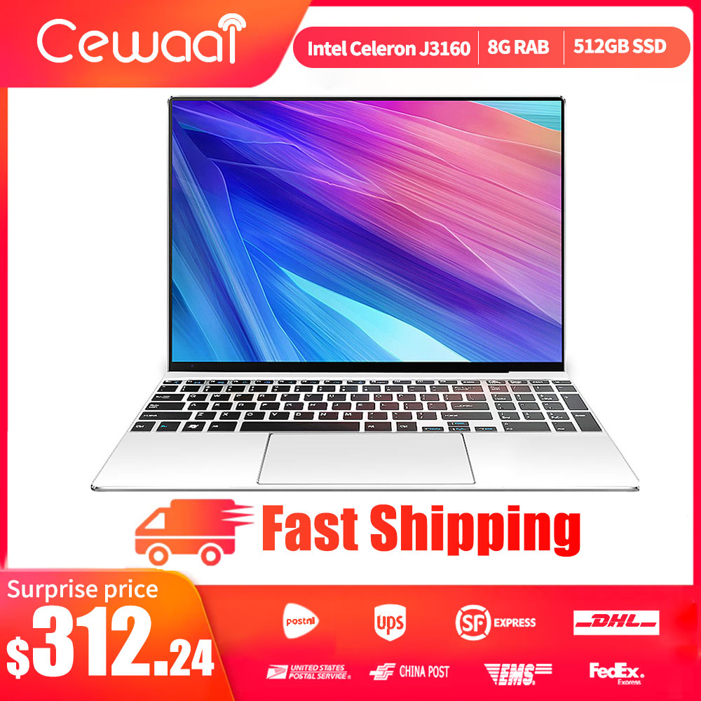 15.6 Inch Laptop Intel J3160 8G RAM 512G M.2 SSD Laptop Office/Gaming Computer QUAD CORE Windows 10 OS Ultrabook HDMI 5G WIFI