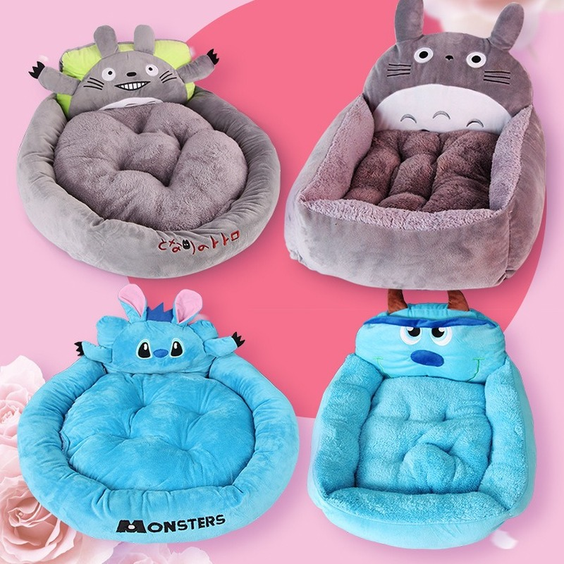 Stitch Chinchilla Shape Pet Bed Totoro Round Square Pet Nest Cat Nest Teddy VIP Pet Supplies Pet Cat Dog Beds Nest Cat Blanket
