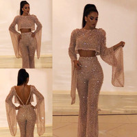 2019 new jumpsuit Europe and America women's explosion models sequins round neck bat sleeve shirt + trousers fake two
