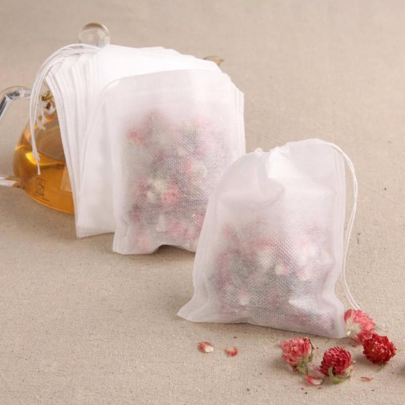 100pcs/lot Tea Bag Filter Paper Bags  Infuser Wood Drawstring Heat Seal Teabags Tea Strainer Tea Bag For Herb Loose Tea .
