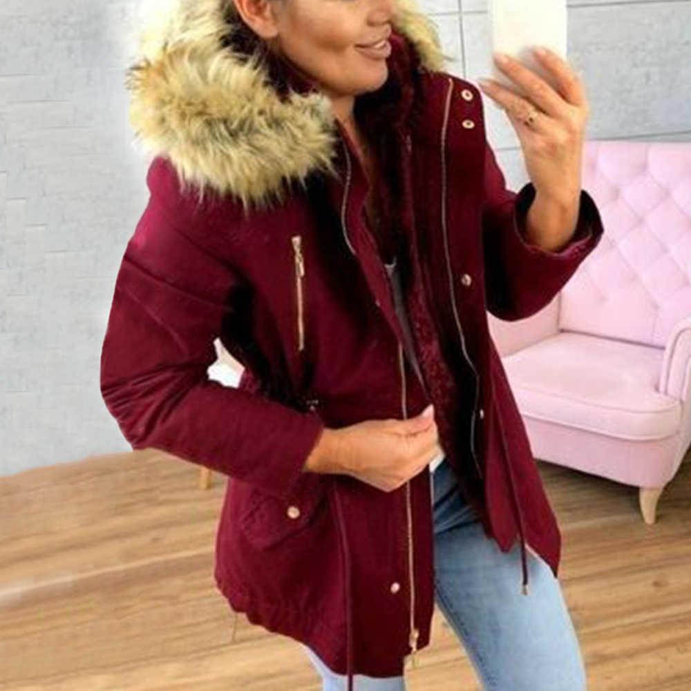Oeak 2020 Thời Trang Mới Áo Khoác Nữ Mùa Đông Có Mũ Trùm Đầu Khóa Kéo Cổ Femme Làm Dày Cotton Nữ Mùa Đông Áo Khoác Cổ Lông
