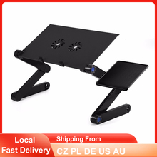 Laptop Table Folding Aluminum Computer Desk Adjustable Bed Sofa Office Notebook Table Dual Cooling Fan PC Stand With Mouse Pad cheap TOPINCN CN(Origin) Foldable Laptop Desk Table Commercial Furniture Home Office Made in China Metal School Furniture 53 00*27 00*4 50 cm