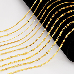 Genuine 24k Yellow Gold Color Necklace For Women Water Wave Chain Snake Bone/Round Bead/O Chain 45cm Necklace Pendant Jewelry