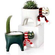 Criativo bonito gato cauda vaso de flores cerâmica personalidade dos desenhos animados animal simples suculento macaco cauda saguaro vaso de flores decoração da sua casa