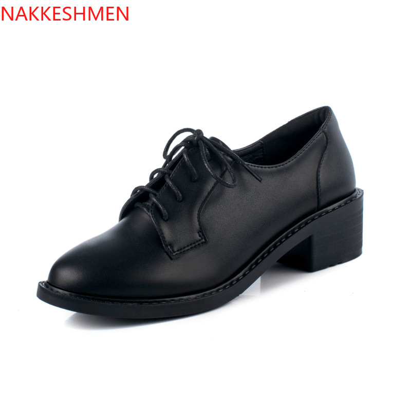 British Style Women Round Toe Oxfords College Chunky Low Heel Lace Ups Shoes B