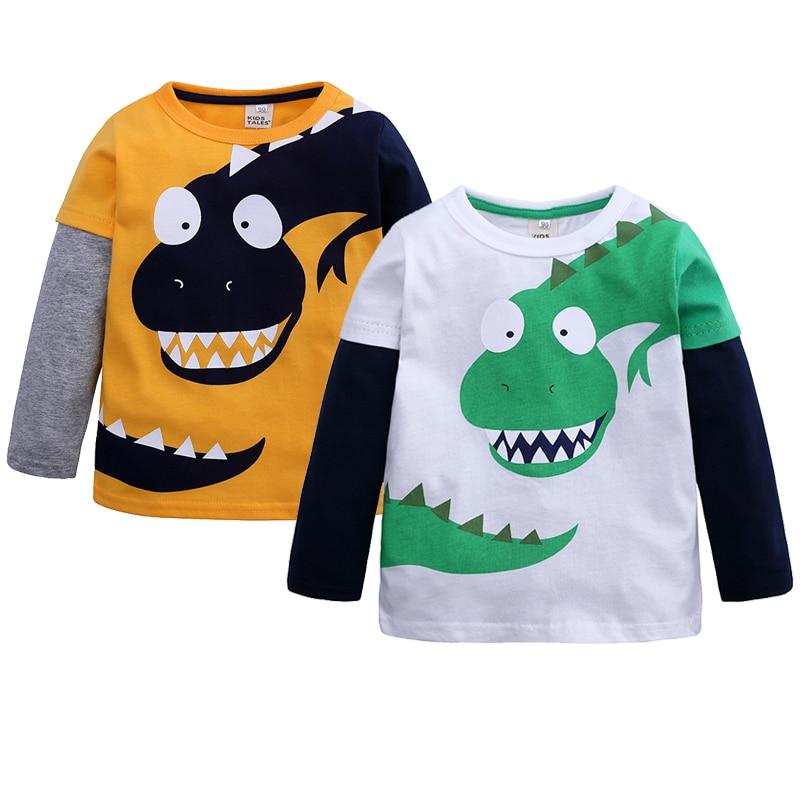 Strange Dinosaur Girls Sweater Spring Cotton Baby Girl Clothes Cartoon Printing Boys Sweatshirt 1-6 Year Old Jacket Kids Clothes