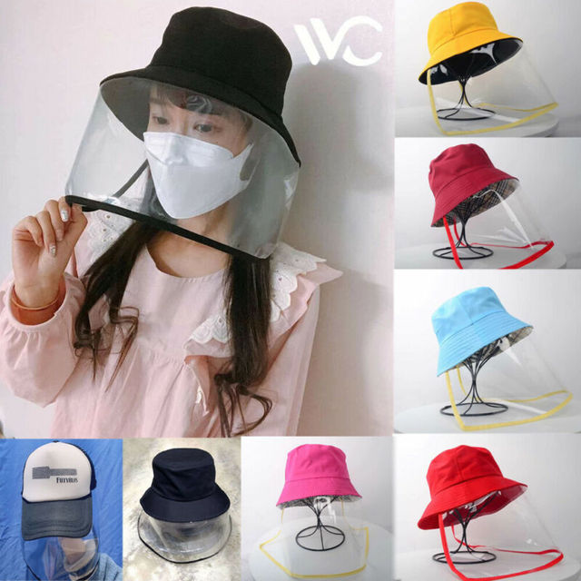 Dropship Anti-saliva Dust-proof Hat With Mask Safety Transparent Protective Mask Plastic Anti-fog Saliva Hats Face Shields Mask 2