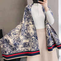 Luxury Winter Women Blue and white porcelain Brushed Cashmere Scarf Ladies Brand Warm ShawlLarge Pashmina Travel Blanket Wraps