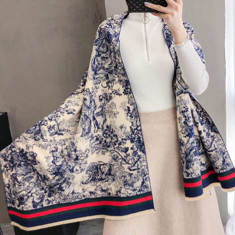 Luxury Winter Women Blue And White Porcelain Brushed Cashmere Scarf Ladies Brand Warm ShawlLarge Pashmina Travel Blanket Wraps