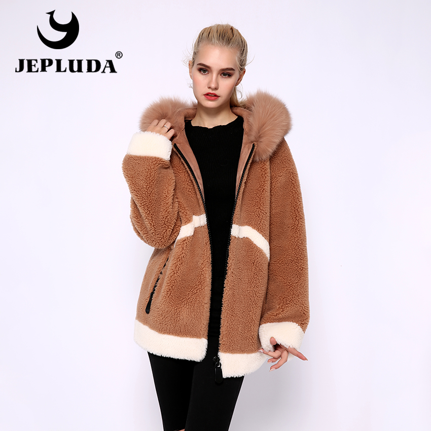 JEPLUDA New Style Wool Blends Real Fur Jacket Women Zipper Hooded Real Fox Fur Thick Warm Winter Real Fur Coat Women Clothing