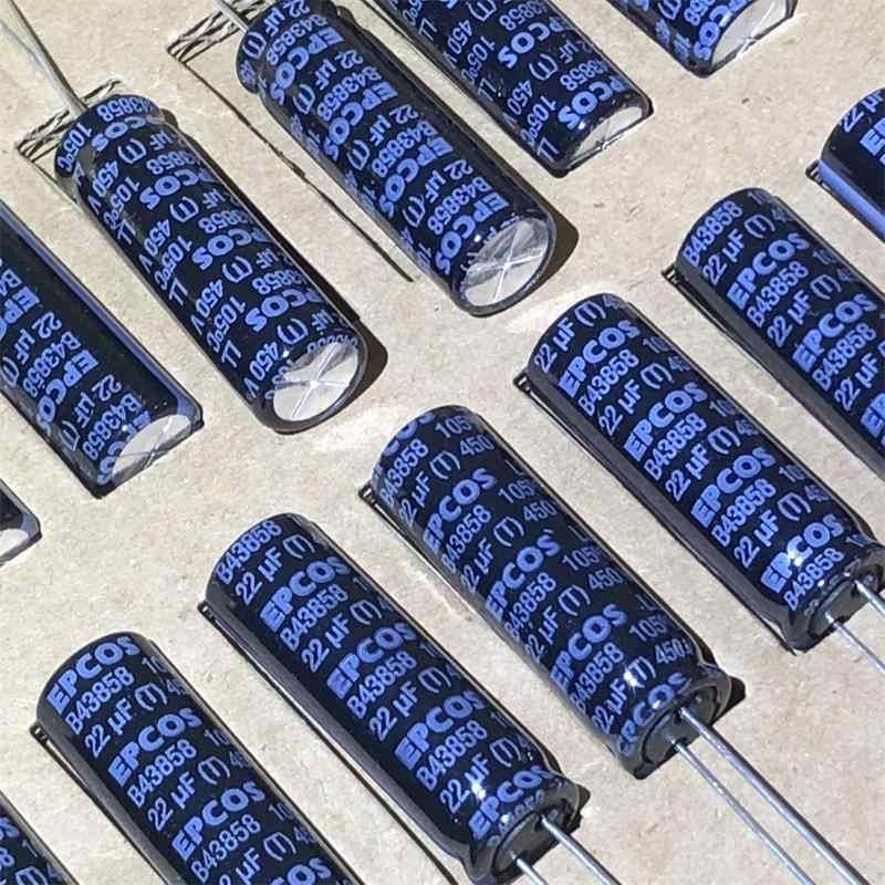 20pcs SIEMENS B43858 Series EPCOS CASSETTE เดิม 22UF 450V ตัวเก็บประจุกรองเสียงไข้จัดส่งฟรี