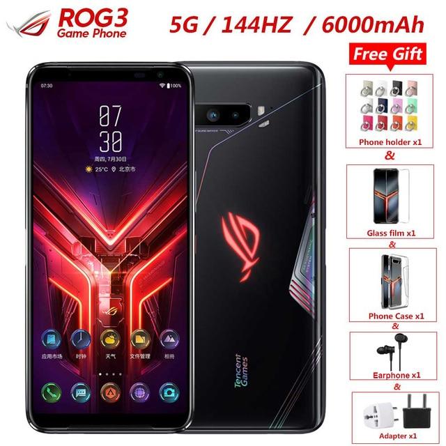 """Novo Asus ROG 3 5G Jogos de Telefone Telefone 6.59 """"12GB de RAM 128GB ROM Snapdragon 865/865 plus octa Núcleo FHD 144Hz + 6000mAh taxa de Telefone Móvel"""