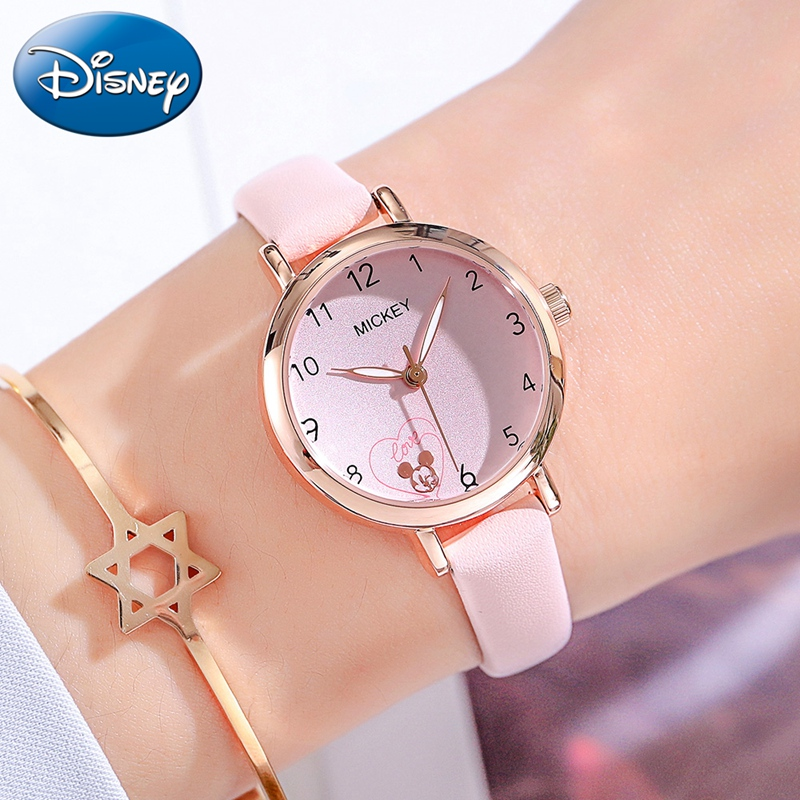 Love Heart Mickey Mouse Quartz Fashion Cute Children Watches Kids Simple Lovely Watch Disney Girls Boys Gift Student Time Clocks