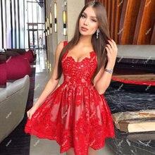 Красное ТРАПЕЦИЕВИДНОЕ короткое вечернее платье на бретельках