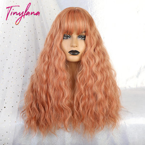Image 1 - TINY LANA Long Loose Wave Synthetic Wigs Orange Pink Color With Bangs For America Women Heat Resistant Fibre Cosplay Lolita Hair